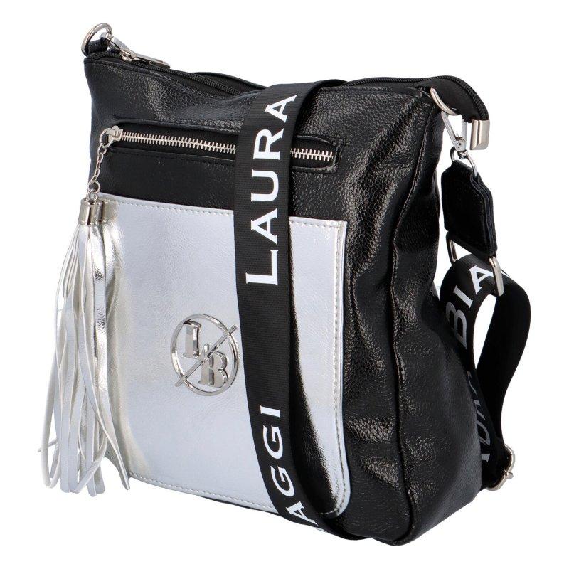 Stylová kabelka se zlatou kapsou Ana, černá-stříbrá