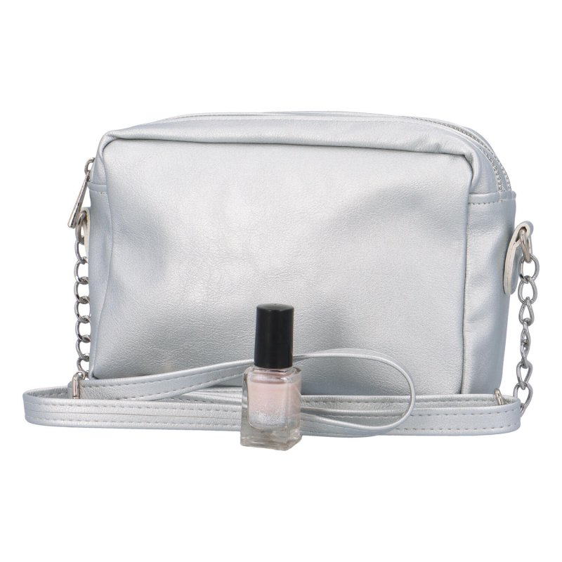 Malá praktická a krásná crossbody kabelka Ivy, stříbrná