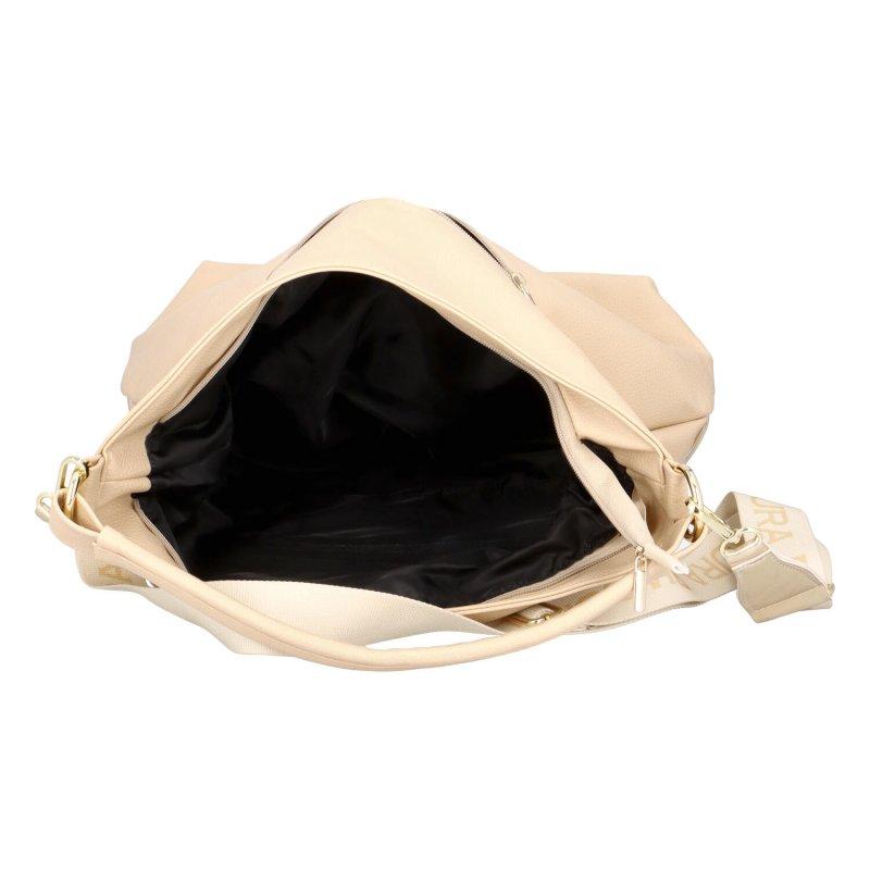 Módní koženková kabelka Elli, tmavě béžová