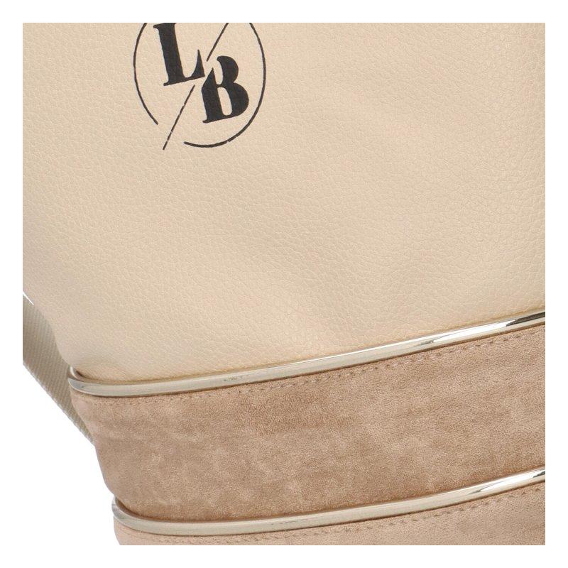 Krásná koženková kabelka Luisa, béžová/tmavě béžová