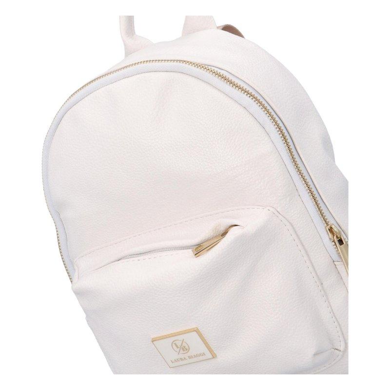 Moderní dámský batůžek LB Jul, bílý-zlatý