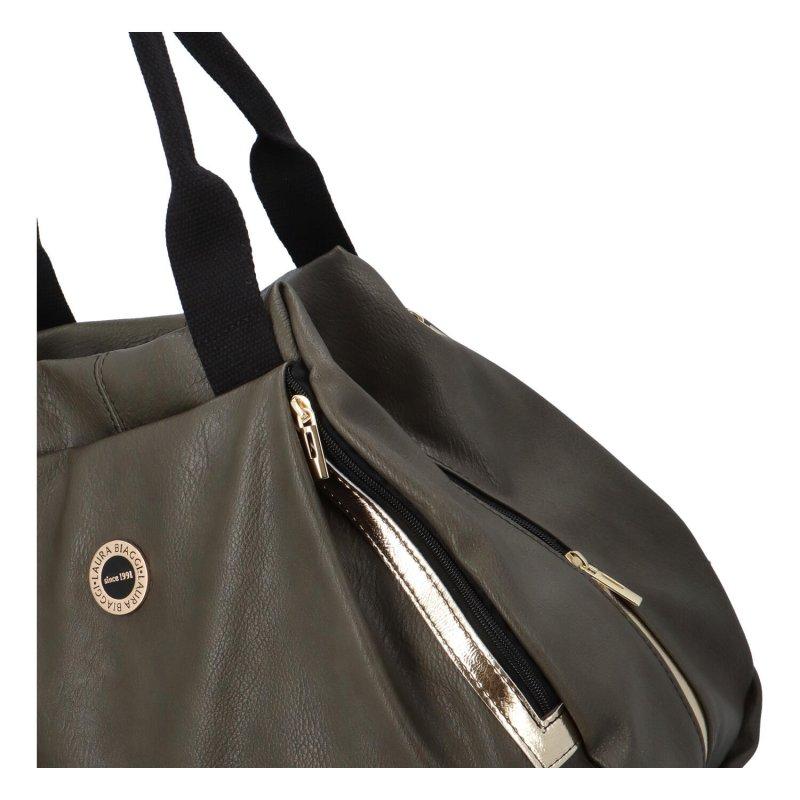 Prostorná koženková kabelka Sporty Rudy, zelená