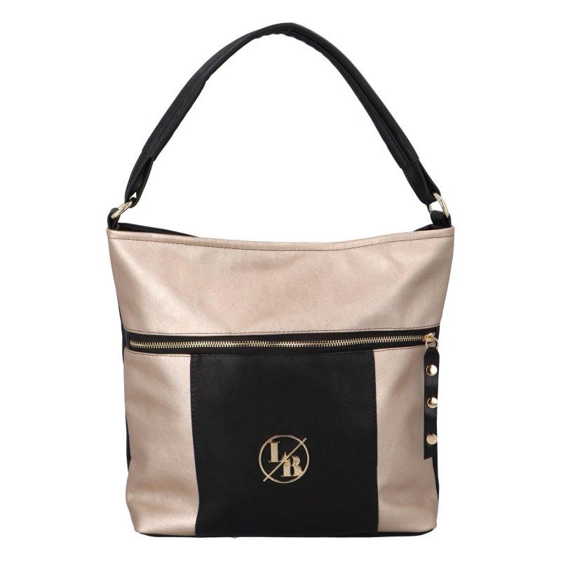 Trendy dámská kabelka Delta, černo-zlatá