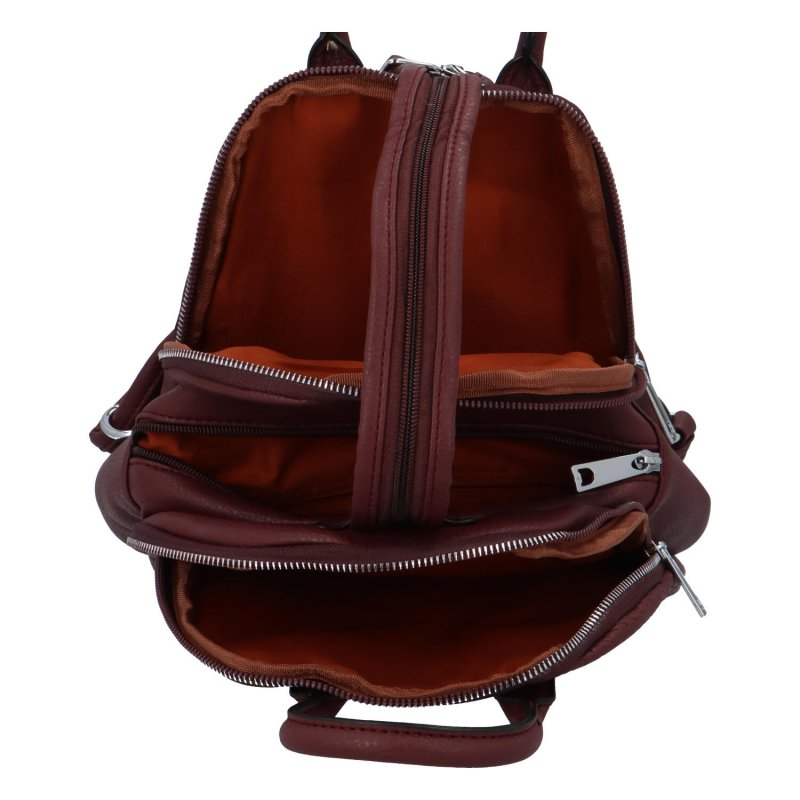 Městský moderní koženkový batůžek Melanie stylish, vínová