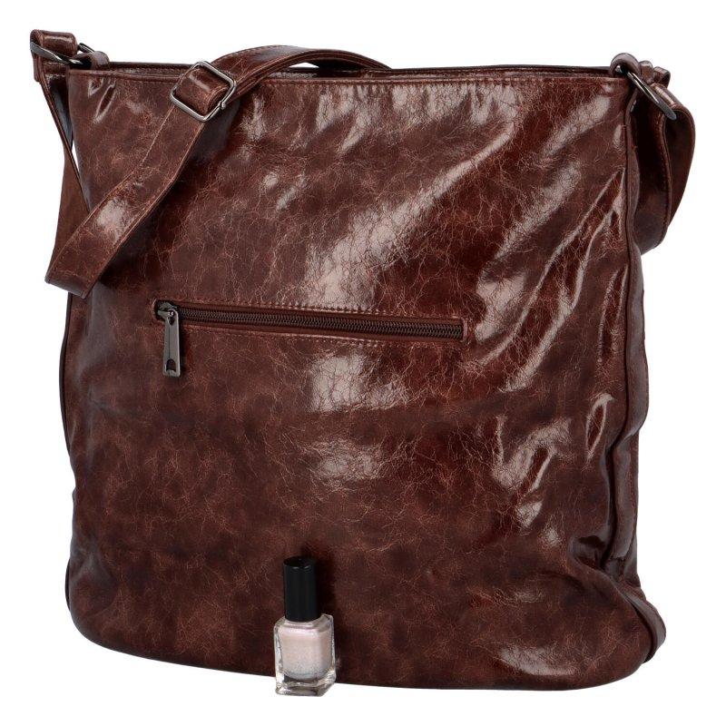 Trendová dámská koženková kabelka Samantha, hnědá