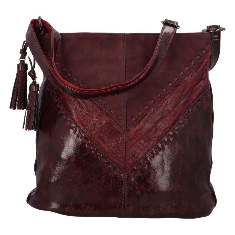 Trendová dámská koženková kabelka Samantha, vínově červená