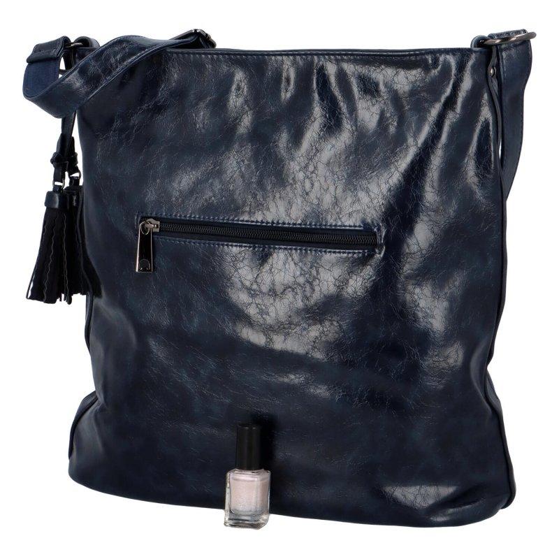 Trendová dámská koženková kabelka Samantha, tmavě modrá