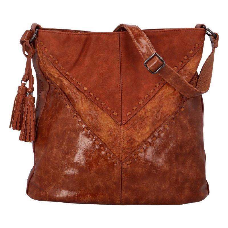 Trendová dámská koženková kabelka Samantha, koňaková