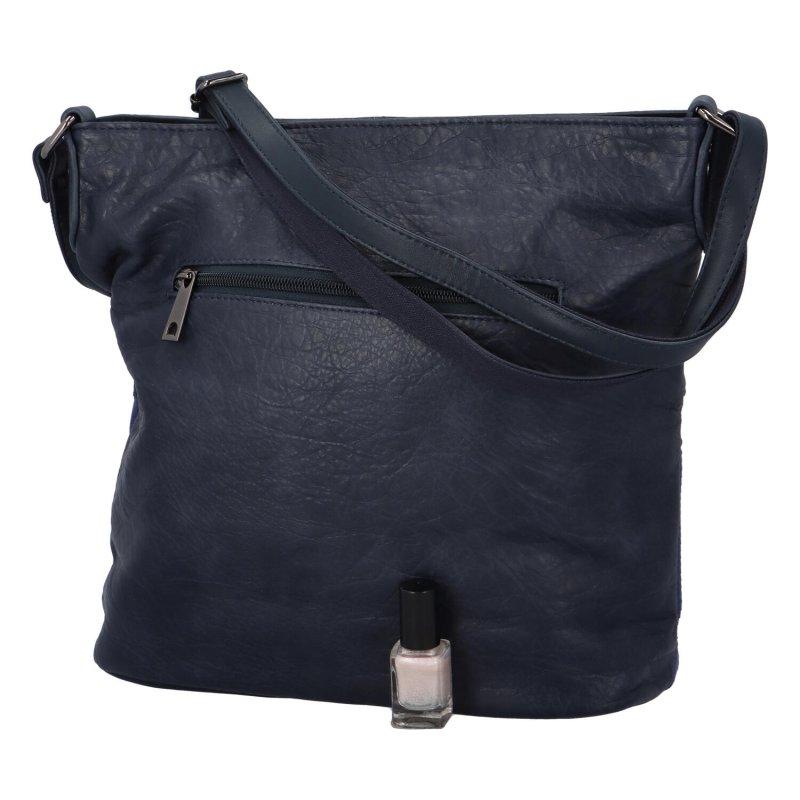 Trendová dámská koženková kabelka Charlotte, tmavě modrá