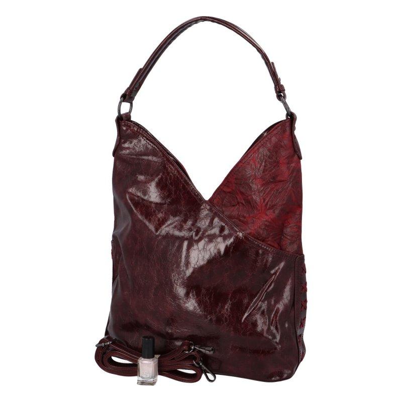 Trendová dámská koženková kabelka Carrie, vínově červená