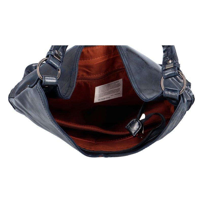 Trendová dámská koženková kabelka Carrie, tmavě modrá