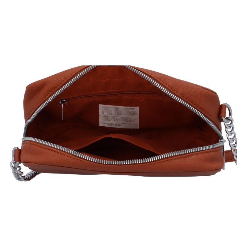 Trendová dámská koženková kabelka Jessica stylish, koňaková