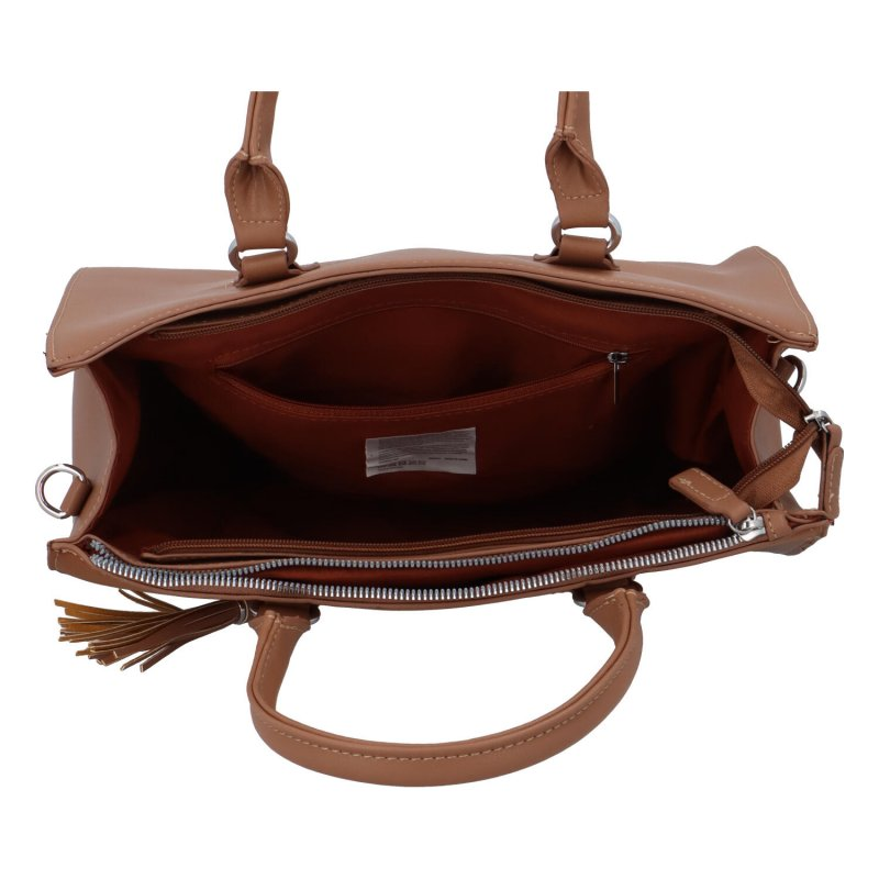 Elegantní dámská koženková kabelka Caroline modern, koňaková