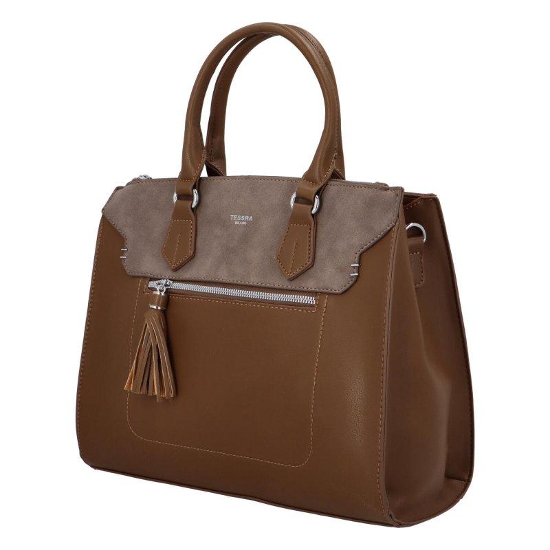 Elegantní dámská koženková kabelka Caroline modern, hnědá