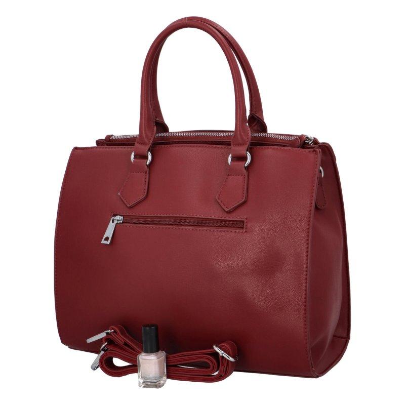Elegantní dámská koženková kabelka Caroline modern, vínově červená