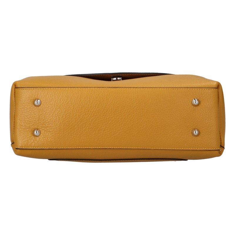 Krásná kožená kabelka Leon, žlutá