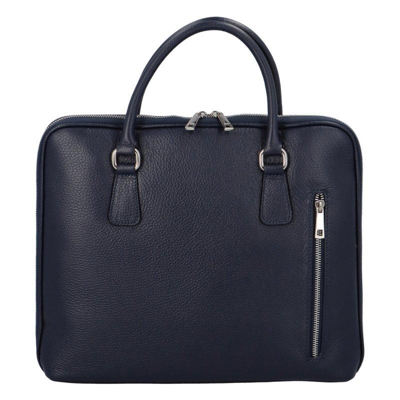 Praktická dámská kožená business taška Sandra Deas, modrá