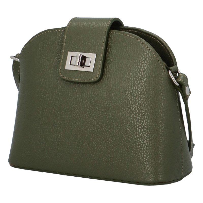 Zajímavá crossbody kabelka se zámečkem Viviana, tmavě zelená