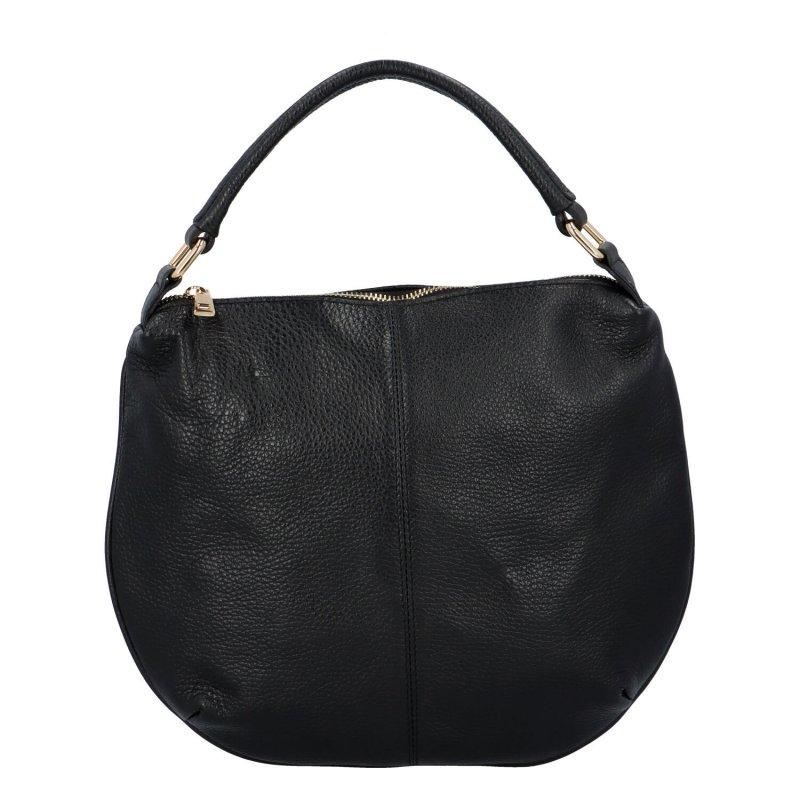 Kožená vkusná kabelka do ruky i přes rameno Tina, černá