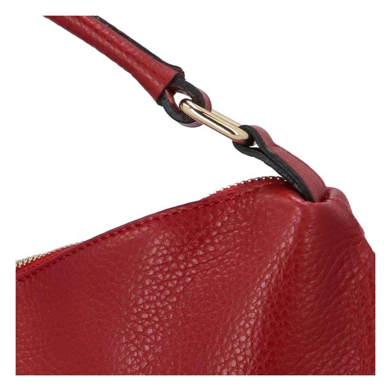 Kožená vkusná kabelka do ruky i přes rameno Tina, čevená