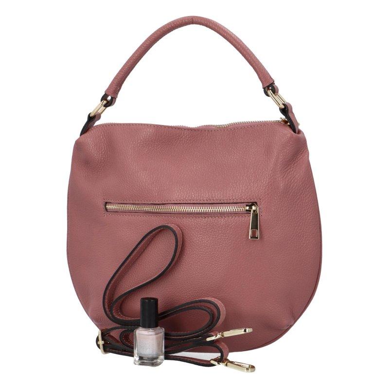 Kožená vkusná kabelka do ruky i přes rameno Tina, růžová