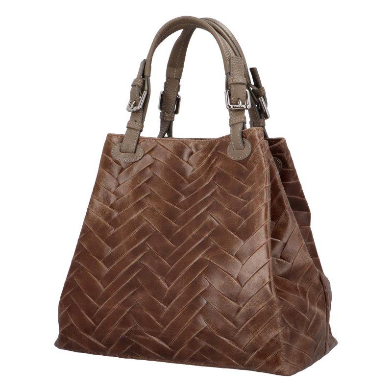 Luxusní prostorná kabelka z pravé kůže Hera, taupe