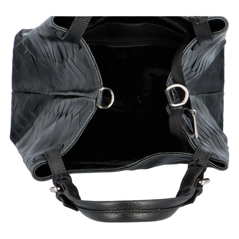 Luxusní prostorná kabelka z pravé kůže Hera, černá