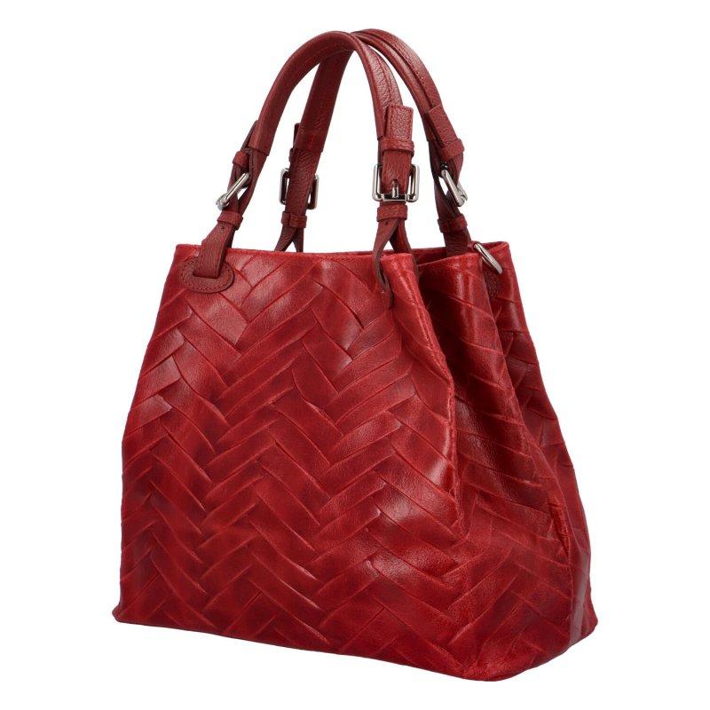 Luxusní prostorná kabelka z pravé kůže Hera, červená