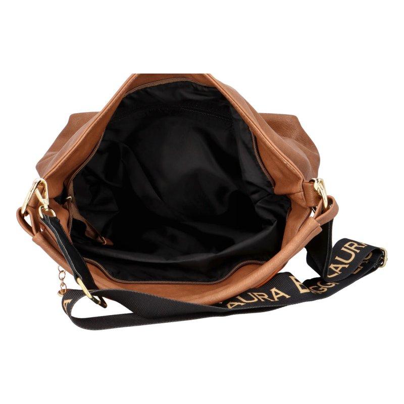 Stylová koženková kabelka Sandra, hnědá
