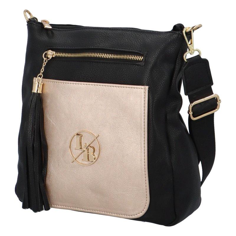 Stylová kabelka se zlatou kapsou Ana,černo-zlatá