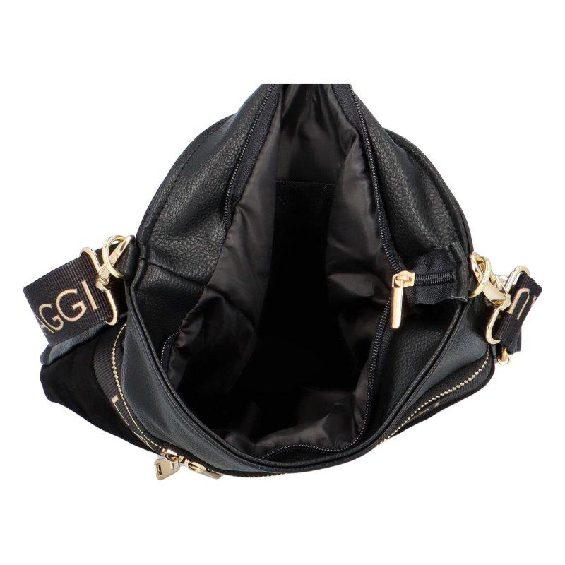 Luxusní dámská crossbody Ellen Laura, černá-semišová