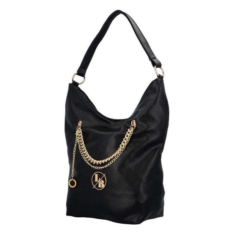 Trendy dámská koženková kabelka s řetízkem Julius, černá