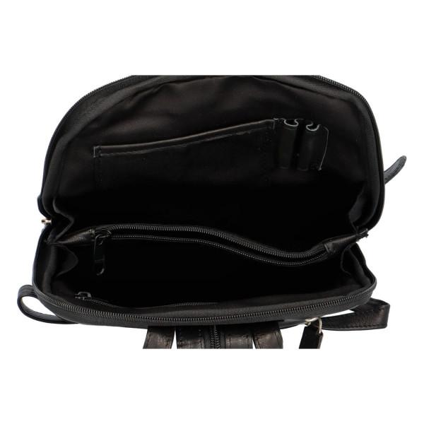 Praktický dámský kožený batoh Indila, černý
