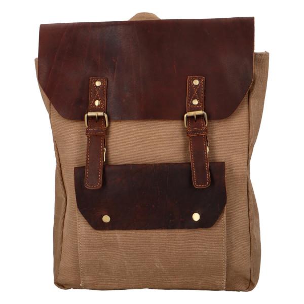 Praktický koženo-látkový batoh Patricio. hnědý