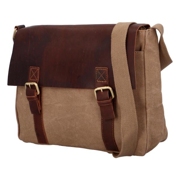 Praktická koženo-látková taška Endra, hnědá