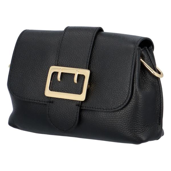 Kožená kabelka Sindy, černá