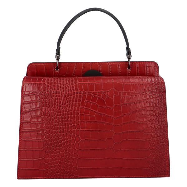 Pevná kožená kabelka do ruky s krokodýlím vzorem Fina, červená