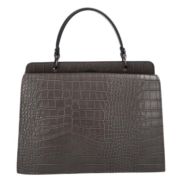 Pevná kožená kabelka do ruky s krokodýlím vzorem Fina, šedá