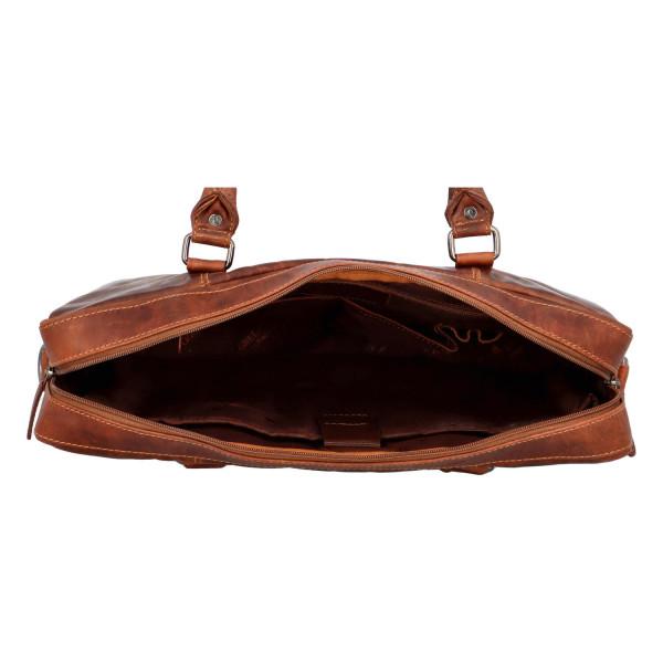 Luxusní pracovní kožená taška Greenwood , hnědá