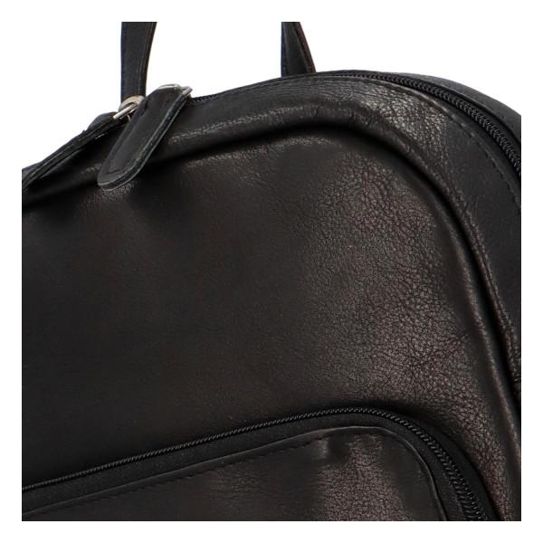 Praktický kožený batoh Greenwood style, černý
