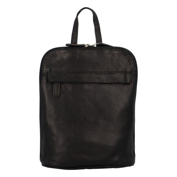 Praktický kožený batoh Greenwood lucky  Lu, černá