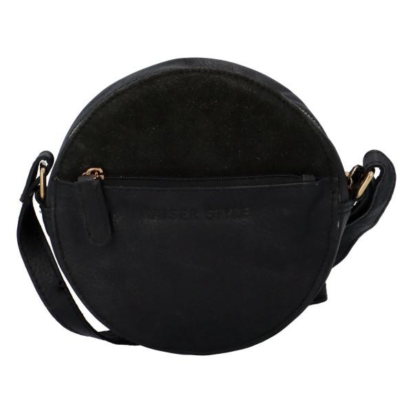 Moderní dámská kožená kabelka Lady circle, černá