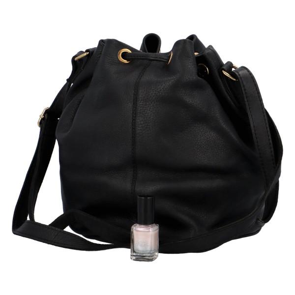 Dámská kožená kabelka pytel Elena, černá