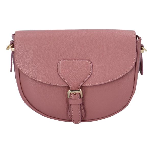 Elegantní společenská kožená kabelka Hannah, růžová