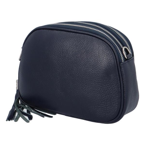 Krásná kožená crossbody kabelka Vernazza, tmavě modrá