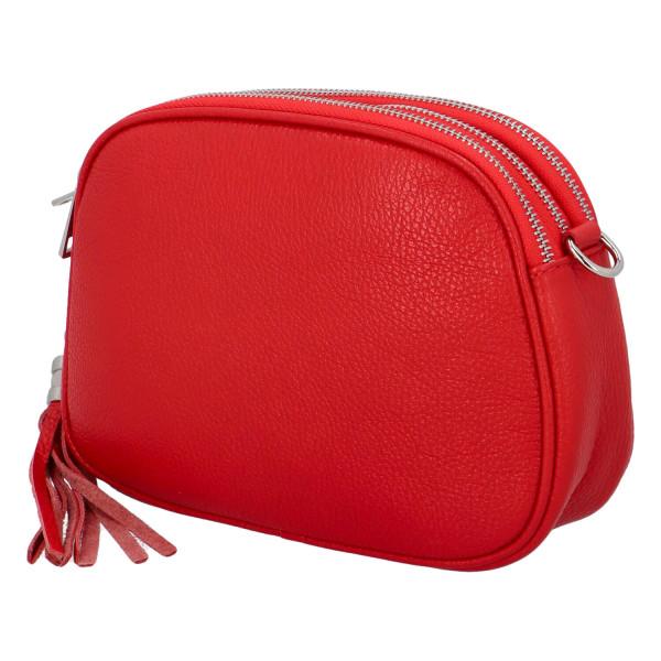 Krásná kožená crossbody kabelka Vernazza, červená