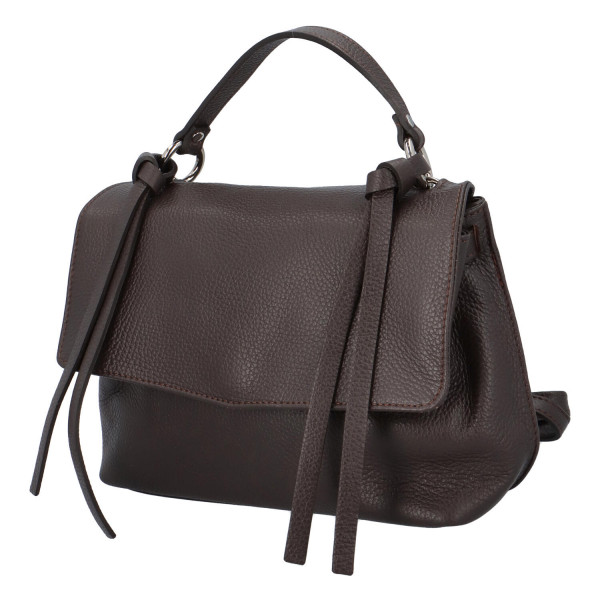 Kožená dámská kabelka do ruky Vienna, hnědá