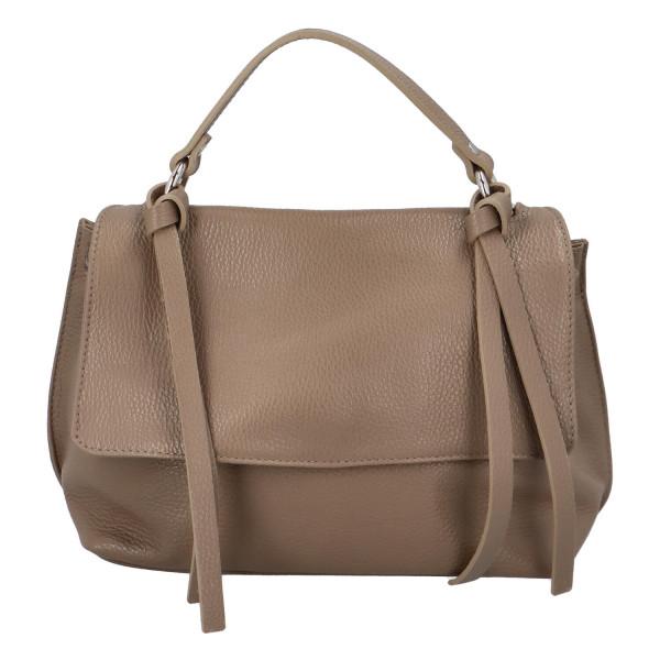 Kožená dámská kabelka do ruky Vienna, taupe