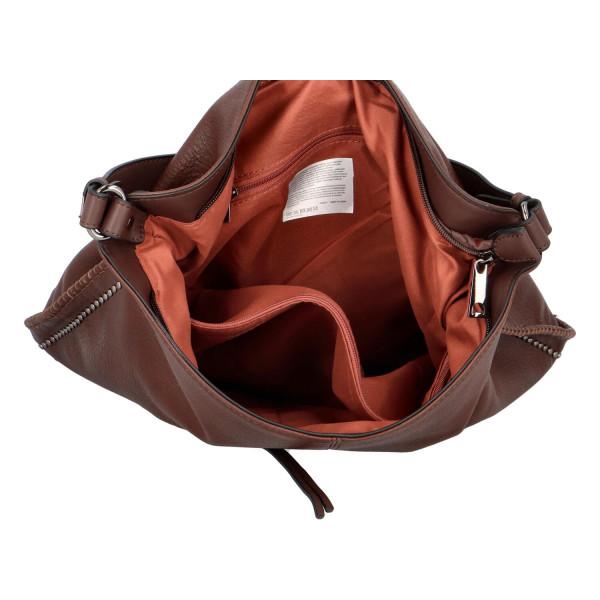 Nadčasová koženková kabelka Kennedy, hnědá
