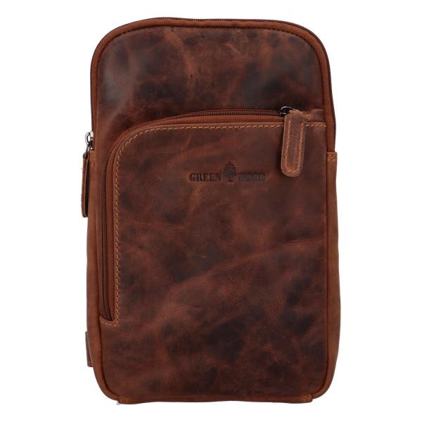 Kožený batoh přes jedno rameno Stylish Joe, hnědý